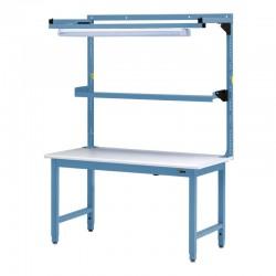 """IAC Steel Workbench w/ Overhead Light & Utility Shelf 30-36"""" x 48-72"""""""