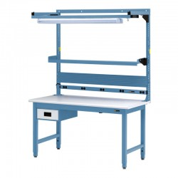 """IAC Workbench w/ 6"""" Drawer, Electrical, Shelf & Light 30-36"""" x 48-72"""""""