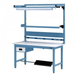 "IAC Workbench w/ 6"" Drawer, Footrest, Bin Rail, Tool Trolley, Electrical Channel & Light 30-36"" x 48-72"""