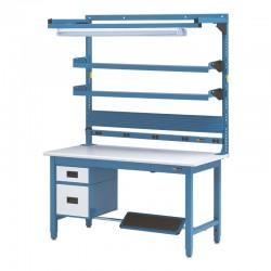 """IAC Workbench w/ 6"""" & 12"""" Drawers, Footrest, Shelves, Multi Bin Rail, Electrical Channel & Overhead Light 30-36"""" x 48-72"""""""