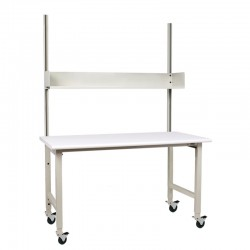"Mobile IAC Packing Shipping Table - 30-36""D x 60-72""W x 48""H, casters, 6"" upper shelf, 1500 lbs load, Bundle 3"