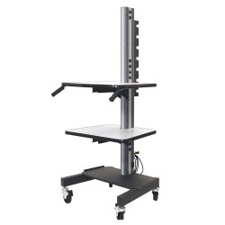 IAC S2 Mobile/Rolling Task Cart w/ Lower Shelf & 10 Electrical Outlets