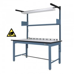 Quick Value Industrial Workbench / Work Table w/ Shelf / Light & Electrical Channel