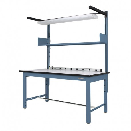 "Steel Industrial ESD Workbench/Work Table 30-36"" by 60-72"" w/shelf/light/bin rail and electrical channel"